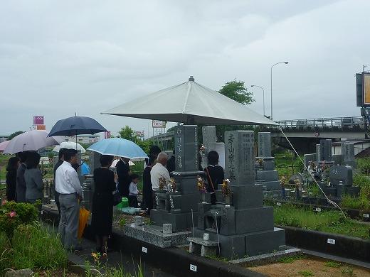 笠松町外大門墓地でお墓建立の納骨式