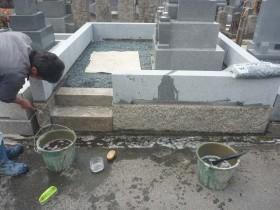 外柵基礎石の掃除