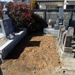 余分の土を回収してお墓の解体撤去工事完了