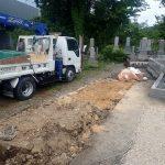 お墓と外柵基礎石の回収