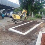 周りを埋め立てて基礎コンクリート工事の完了です